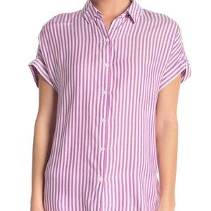 Beachlunchlounge White Pink Striped Top Collared